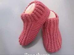 Как связать носки на двух спицах,без шва. Домашняя обувь.. Link download…