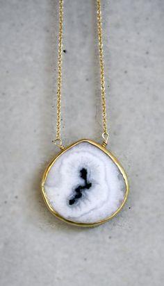 White Solar Quartz Bezel 14k Gold Filled Necklace by shopkei