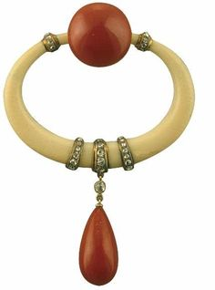 Georges Fouquet c. 1923 Pin brooch Ivoire, coral, gold, diamonds