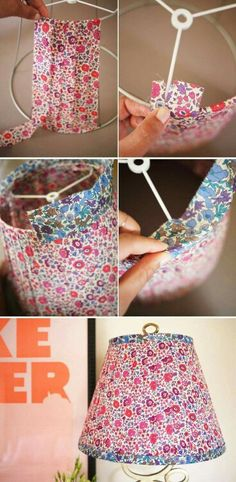 Diy floral lampshade diy floral lampshade, lamp shades et di Diy And Crafts Sewing, Crafts To Sell, Diy Crafts, Floral Lampshade, Diy Lampshade, Painted Lampshade, Fabric Chandelier, Craft Tutorials, Craft Projects