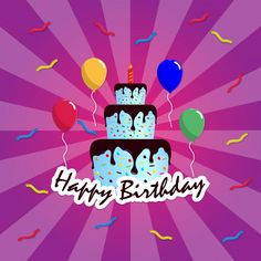 Happy Birthday With Purple Background Vector