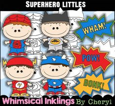 Super Hero Littles Clip Art, BONUS Lineart, Digital Stamps, Black and White, Line Art, Instant Download, Boys, Kids, Comic, Text, Costume by ResellerClipArt on Etsy