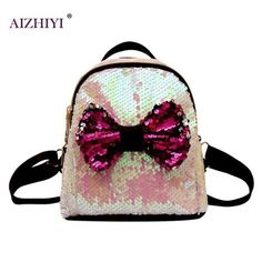 272aec4a8c Women Mini Shining Sequins Backpack Bowknot Cute Girls Fashion Backpacks  Design for Teenager Party Girls Small Travel Schoolbag