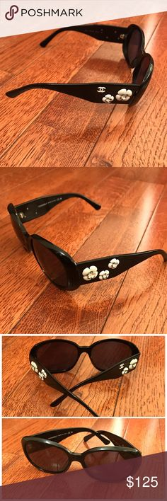 Chanel Camilla Flowers Sunglasses Black and with white flowers. one flower on the right is missing a pedal. overall frame is in good conditions. No case included CHANEL Accessories Sunglasses