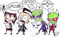 Gaz reacts to ZaGr, Dib reacts to ZaDr, Tak reacts to ZaTr, and Zim reacts to any ship at all ever.