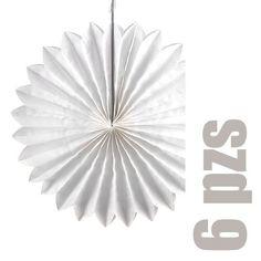 Abanicos de papel para colgar blancos (6 pzs)