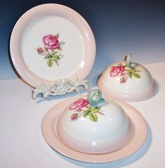 Homer Laughlin Moss Rose Covered Muffin / Pancake Servers