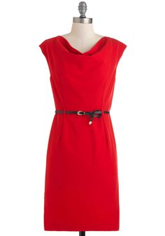 For Santa picture! Red by Example Dress - Red, Solid, Work, Sheath / Shift, Sleeveless, Belted, Mid-length