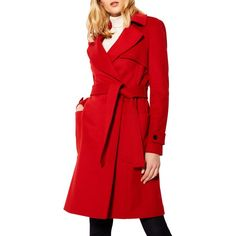Karen Millen Investment Wool Coat (€365) ❤ liked on Polyvore featuring outerwear, coats, long coat, red coat, oversized trench coat, red wool coat and wool wrap coat