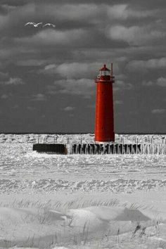 """The Sentinel"" (Muskegon Pier Light , State of Michigan)"