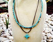Cross Beaded Necklace - Multistrand Leather & Silver Chain Boho Style Ornate Crucifix Pendant Jewelry You