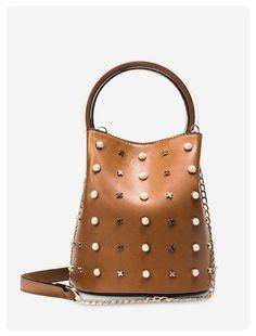 Faux Pearls Metal Embellished Bucket Bag (Brown)