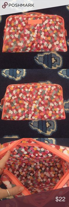 Vera Bradley Large Clear Cosmetic- Pixie Confetti Vera Bradley Large Clear Cosmetic in Pixie Confetti! Great size for at home or travel. Can fit shampoo, moose, conditioner, etc. also great for the beach for your items you don't want to get wet! Never used! Vera Bradley Bags Cosmetic Bags & Cases