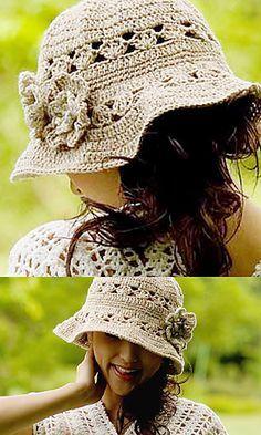 sun hat for women, free Ravelry crochet pattern.