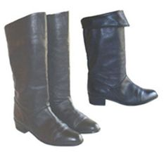 1980s Flat Black Leather Pirate Cuffed Boots 7M #Boots
