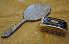 Antique 1920s brush and bakelite hand held vanity by LadyEM2, $15.00