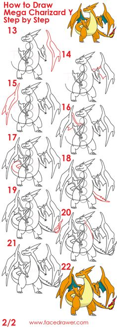 how to draw mega charizard step by step 2 infographic 2