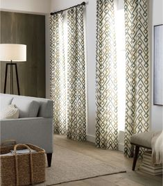 Maddox Khaki/Grey Curtain Panel - Crate and Barrel Scarf Curtains, Brown Curtains, Lined Curtains, Patterned Curtains, Bright Color Schemes, Custom Made Curtains, Grey Palette, Farmhouse Curtains, Curtain Patterns