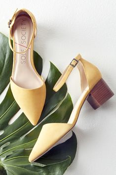Yellow suede block heels, perfect for spring outfits | Sole Society Katarina