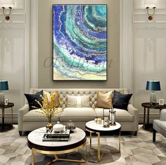 Paintings on canvas Original abstract painting Contemporary art Abstract art Large acrylic painting Abstract painting Gold Blue White Home - Architecture - yacht Home Living Room, Living Room Designs, Living Room Furniture, Living Room Decor, Rustic Furniture, Contemporary Home Furniture, Furniture Nyc, Contemporary Artwork, Furniture Outlet