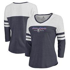 Vegas Golden Knights Fanatics Branded Women's Spangled Script Three-Quarter Sleeve Tri-Blend T-Shirt - Navy