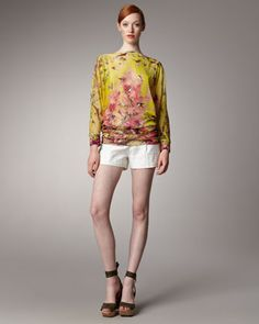 Printed Tunic & Embroidered Linen Shorts by Jean Paul Gaultier at Bergdorf Goodman.