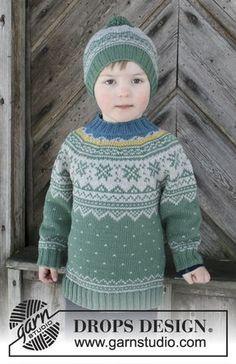 Das Set umfasst: Pullover für Kinder mit Rundpasse und mehrfarbigem nordischem Muster, gestrickt von oben nach unten. Mütze mit mehrfarbigem nordischem Muster und Pompon. Größe 2 - 12 Jahre. Das Set wird gestrickt in DROPS Merino Extra Fine.