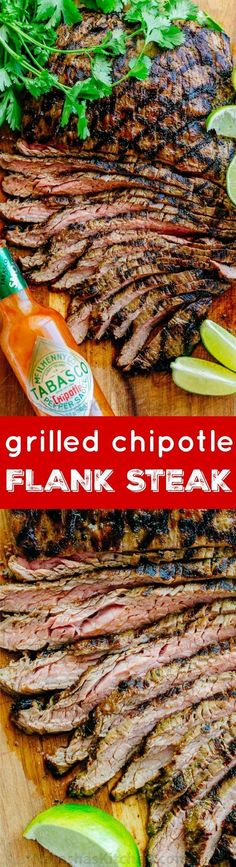 Go-to flank steak recipe! The marinade is so easy with just a few ingredients. This chipotle flank steak has incredible flavor and the SECRET ingredient is Grilling Recipes, Meat Recipes, Mexican Food Recipes, Cooking Recipes, Recipies, Griddle Recipes, Spinach Recipes, Water Recipes, Drink Recipes