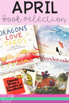 This blog post rounds up four great picture books that you can use in speech-language therapy or the regular education classroom in April! These read alouds are great for spring or summer! This blog post also reviews April's Flipping for Literature packet! Books include Thunder Cake, Dragons Love Tacos, Zen Shorts, and Cloudy with a Chance of Meatballs! They can be used to address a variety of language skills! #speechtherapy #languagetherapy #readalouds