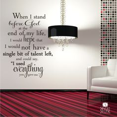 Wall Decal Quote Everything You Gave Me - Vinyl Word Art., via Etsy.