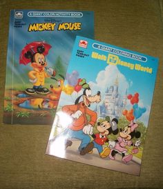 Vtg Walt Disney's Mickey Mouse Giant Coloring Book / Activity Book Lot of 2  #Disney