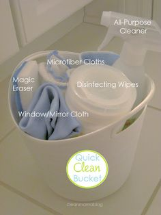 Stash a bucket with your cleaning supplies under your sink. Gone are the days of toting everything from room to room! Via Clean Mama