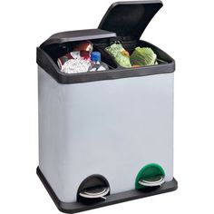 30 Litre Recycling Pedal Bin with 2 Compartments. at Homebase