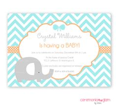 Baby shower boy or girl elephant chevron aqua and orange printable invitation