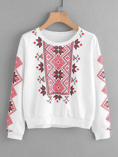 ROMWE - ROMWE Geo Print Sweatshirt - AdoreWe.com