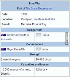 Emu war. Yes, this really happened.