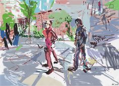 Stella Downer Fine Art - Dealer Consultant & Valuer - Featuring work by Rod Holdaway - Man in Red and Man in Blue on a Sydney Street