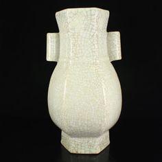 Chinese Qing Dynasty Ge Kiln Porcelain Vase w Qianlong Mark