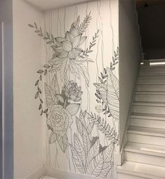 Diy Wall Painting, Mural Painting, Home Decor Furniture, Diy Home Decor, Room Decor, Wall Art Designs, Wall Design, Mural Floral, Bedroom Murals