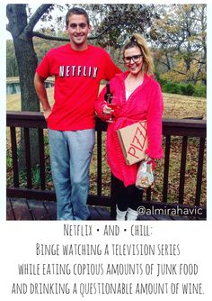 Halloween couples costume. Netflix and chill.