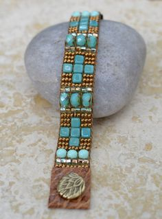 Loomed Beaded Bracelet - Sundance Style Artisan Jewelry - Copper and Turquoise -  Santa Fe by SplendorVendor