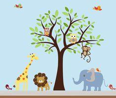 Colorfull Kids Safari Nursery Jungle Wall Decal by NurseryWallArt