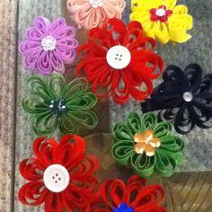 Ribbon Flower hair bows I made for Hailey.