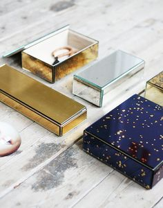 Mirror Boxes - Navy, Gold & Mirror - Home Deco - Interiors