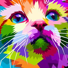 close up of beautiful cat Pop Art Poster Print Colorful Animal Paintings, Colorful Animals, Arte Pop, Dancing Cat, Robert Rauschenberg, Cat Posters, Poster Prints, Art Prints, Cat Colors