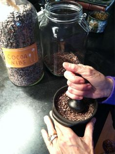 I love grinding the cocoa nibs for making chocolate alcohol, as the base for my Cacao perfume. I start with the best cocoa in the world from Steve DeVries.