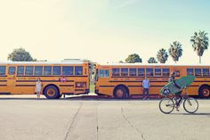 school bus couple by Max Wanger