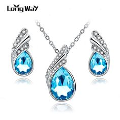 LongWay 2017 Fashion Jewelry Sets Silver Plated Rhinestone Jewelry Sets Blue Crystal Necklace Earrings Set For Women SET150037