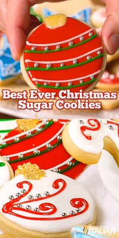 Christmas sugar cookies (also known as cut out cookies) are a family tradition. This simple recipe for the perfect dough stays put (doesn't spread) and tastes amazing! A sweet cookie that is slightly Best Sugar Cookies, Christmas Sugar Cookies, Sweet Cookies, Christmas Snacks, Christmas Cooking, Sugar Cookies Recipe, Holiday Cookies, Holiday Desserts, Holiday Recipes