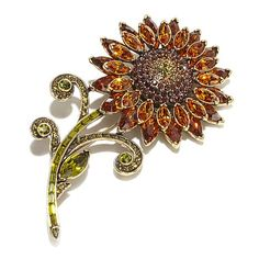 "Heidi Daus ""Sparkling Sunflower"" Crystal Pin"